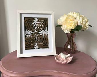 Golden Leaves handcut paper art, framed modern art, forest papercut, forest art, gold wall art, modern paper art, Papercut art, leaf art