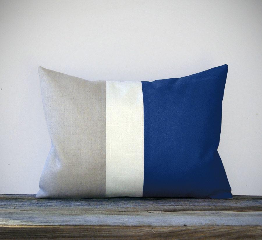 Indigo Blue Color Block Decorative Pillow With Stripes Cream