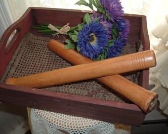 2 Vintage Wooden Roving Bobbins Spools Crafts Fixins Make Do Shelf Sitters Reclaim Primitive Americana