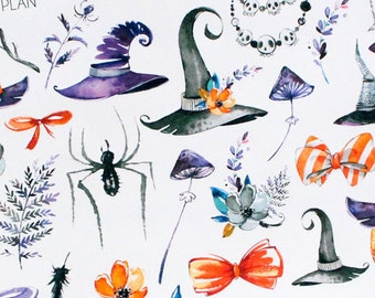 Planner Stickers Watercolor Halloween Variety Deco for Erin Condren, Happy Planner, Filofax, Scrapbooking