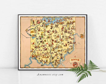 OHIO MAP - Instant Digital Download - printable vintage state map for framing, totes, cards, mugs, tags - fun pictorial map wall decor