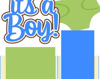 Scrapbook Page Kit or Premade Layout 1st year Scrapbooking/It's a Boy