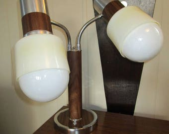 Rare Mid Century Walnut Laminate, Chrome Original Shades Double Goose Neck Desk Lamp