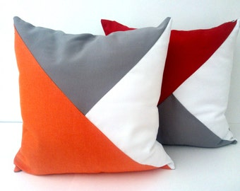 Throw Pillow Cover Geometric Modern Home Accent, Orange, White and Grey Decor, Free Shipping