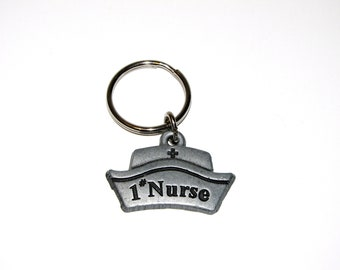 Vintage Real Pewter #1 Nurse Badge Key chain, Pewter Key chain Ring Holder, Doctor Nurse Hospital Gift For Physician Nurse Hat Charm Zipper