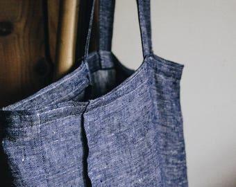 Large Linen Bag / Tote Bag / Summer Bag / Shopping Tote / Linen Blue Bag