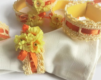 Yellow Napkin Rings, Set of Six Crochet Napkin Rings, Spring Flowers Napkin Holders