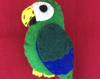 Handmade felt parrot bird brooch