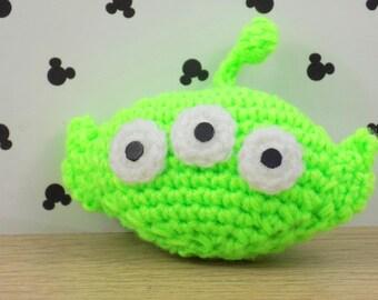 Porte-clés Toy Story Alien    Fait main au crochet en amigurumi    Disney gift