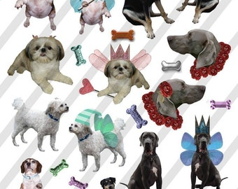 Digital Collage Sheet Fairy Dogs (Sheet no. FS22) Instant Download