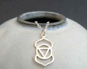 silver third eye chakra necklace small yoga charm sterling silver yogi pendant gift simple zen dainty delicate everyday jewelry sixth 6th