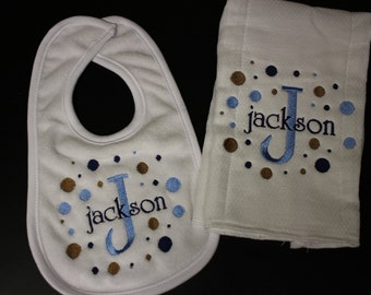 Personalized Embroidered Baby Burp Cloth and Bib-dots