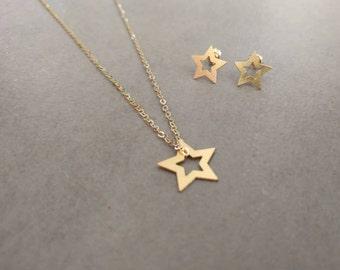 Gold Star Necklace, Star Necklace, Gold Star Jewelry Set, Earrings, Pendant Necklace, Stud Earrings, Star Stud, Bat Mitzva Gift, Girls Gift