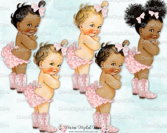 Country Cutie Pink Ruffle Pants Cowgirl Boots | Vintage Baby Girl | 3 Skin Tones | Clipart Instant Download
