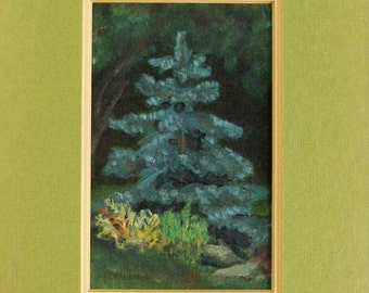 Blue Spruce Tree - Acrylic Landscape Painting - 8x10 Vintage Framed Art - Green Garden Wall Decor - Rustic Cabin Decor - Original Fine Art