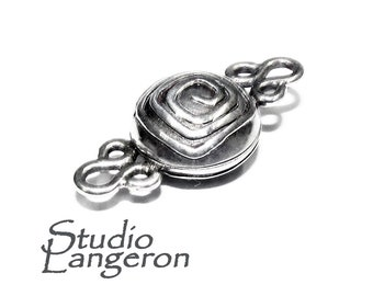 Sterling Silver Button Padlock Magnetic Clasp, Magnetic clasp,Clasps, Silver clasp, Round clasp, Sterling silver, 925 silver clasp - 1 piece