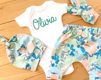 Mint Floral Baby Girl Coming Home Outfit / Bodysuit / Knot Headband or Knot Hat