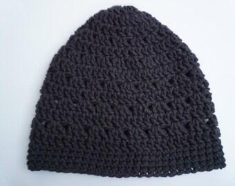 Black Crochet Beanie Medium Weight Beanie Black Lacy Crocheted Hat Womens Beanie Teen Girls Beanie Hat Womens Hat