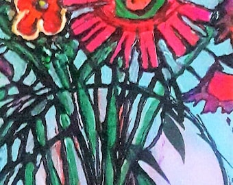 Still Life Floral Painting Arcylic Abstract Whimsical Painting Flower Painting