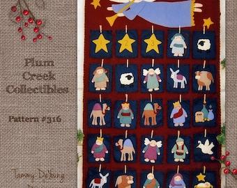 Nativity Advent Calendar Pattern. Religious Christmas Decoration, Wool felt Applique pattern, Woolfelt embroidery, felt manager scene,