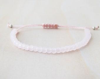 Rose quartz bracelet, pink quartz bracelet, quartz bracelet, quartz beaded bracelet, pink quartz, quartz bead bracelet