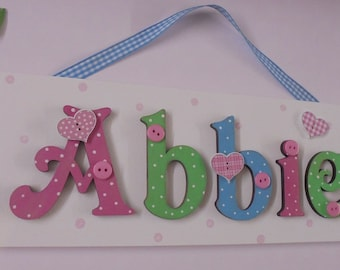 ANY NAME **Max 7 letters**Personalised Childrens Door Name Sign Plaque Hearts (Mid tones on white)