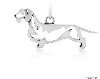 Sterling Silver Wire-haired Dachshund Pendant, Body