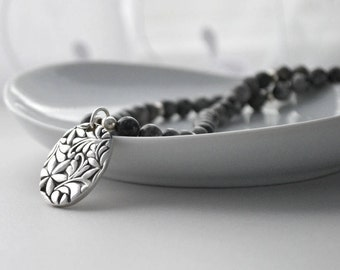 Silver Pendant Necklace, Fine Silver and Gemstone Necklace, OOAK Grey Necklace, Metalwork Jewelry, PMC Jewelry, Artisan Jewelry, Gray