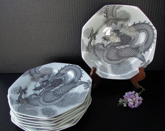 Vintage Dragon Mikasa Bone China Luncheon Plates - Mythology Pattern Onyx Color - 8 Plates - Charcoal and White Dragon Pattern - Bone China