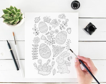 Adult coloring page: Easter eggs and Bunny. Doodle art, DIY coloring poster, printable pdf, instant download