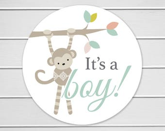 It's a Boy Monkey Stickers, Envelope Seals, Baby Announcement Stickers, Mason Jar Stickers (#140-D)