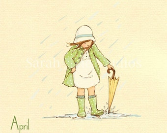 "Children's Wall Art Print - April Showers - 8x8"" - Girl Kids Nursery Room Decor"