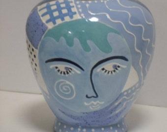 Whimsical BLUE DREAMER Handpainted Vase