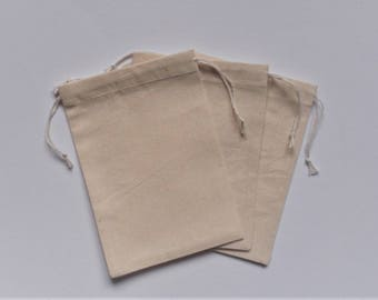 "Cotton Drawstring Bags * Fabric Favor Bags * Cotton Gift Pouches* Jewerly Bags, Muslin Bags * set of 50 * 3"" X 4"" (8cm x 10cm )"