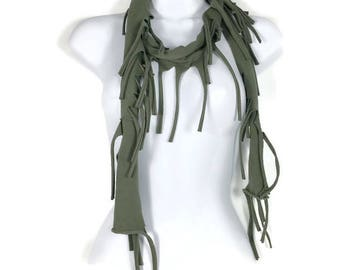 Olive Green Cotton Fringe Scarf Military Green Fringed Scarves Army Green Fringe Scarves Army Green Fringe Scarf Cotton Fringe Scarves