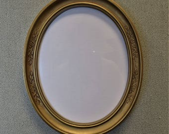 8x10 Oval Frames Gold Plastic Two Available with Glass and Backing