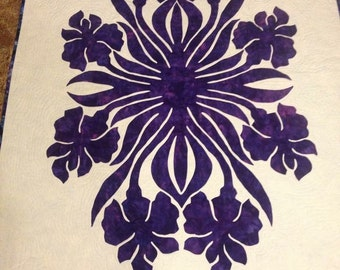 Hawwiian Applique' Iris hand dyed and batik fabrics
