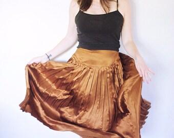 Vintage Gold Silk Skirt | Pleated Silk