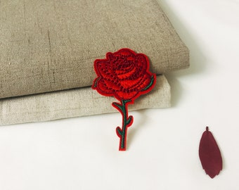 rose patch-flower patch-iron on patch-embroidered patch-patch for jacket-DIY embroidery -applique