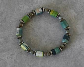 Handmade Paper Bead Bracelet - Stormy Weather