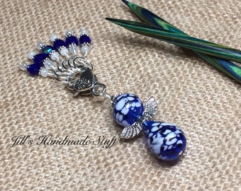 Angel Stitch Marker Holder & Snag Free Cobalt Blue Stitch Markers- Knitting Gift