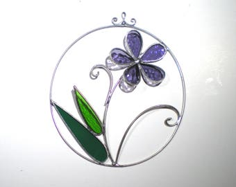 Lilac Bloom - Stained Glass Wall Accent - Small Purple Flower Wire Home Decor Wall Hanging Suncatcher Nature Decorative (READY TO SHIP)