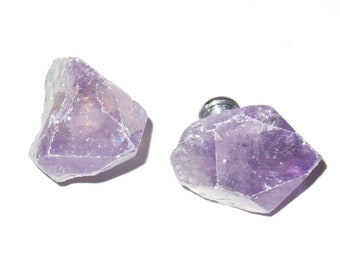 Rough Amethyst Quartz Points Knobs - Free-Form Raw Natural Stone Pulls - Stone Cabinet Knobs