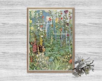 Living Room Art, Family Room Art, Nature Art Print, Girl's Room Art, Little Girl in Flowers  #555