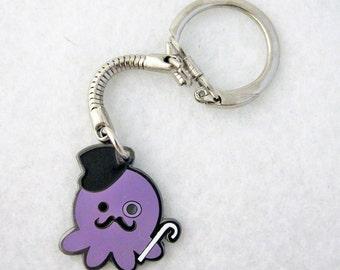 Deluxe Metal Dapper Gentleman Octopus Keychain