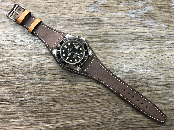 Handmade Real Leather cuff strap | Leather Cuff watch band | Cuff Band | Vintage Dark brown Leather Cuff watch Strap for all  20mm lug