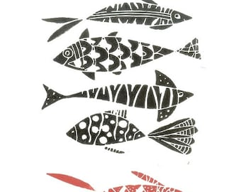 Fishes Print - Original Linocut Print - Fish Lino Print - Hand Pulled - Black and Red Fishes - Printmaking Art - The Bluebirdgallery