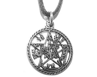 Sterling Silver Occult Tetragrammaton Pentagram (Pentacle) Pendant
