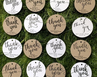 Thank You Tags / Bridal Shower Favor Tags, Classic / Rustic Favor Tags, Wedding Tags, White / Kraft Round Personalized Gift Tags, Party Tags
