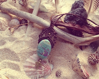 Sweet dream Godess  jogini boheme gipsy bohemian macrame rubinzoisit hippie necklace beautyful collier